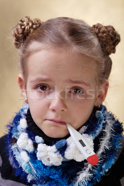 Little girl with red eyes having the flu Stock photo © ilona75