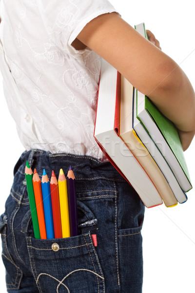 Vissza az iskolába gyerek színes könyvek ceruzák gyermek Stock fotó © ilona75