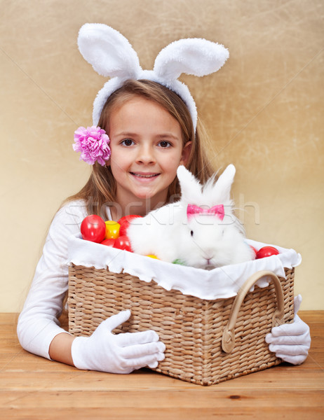 Happy spring girl with easter basket Stock photo © ilona75