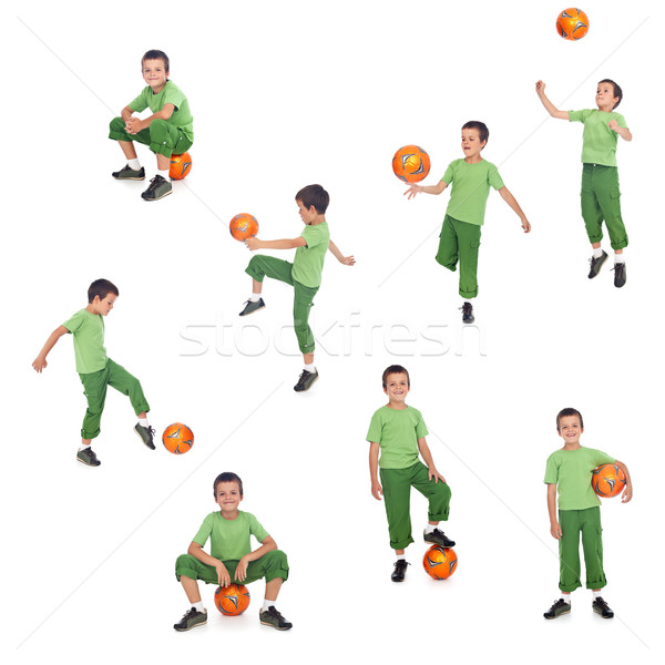 Fútbol futbolista nino diferente posiciones aislado Foto stock © ilona75