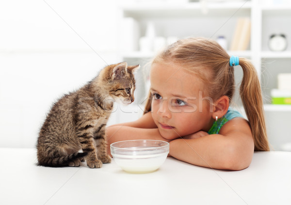 Stock photo: Me and my cat - little girl and her kitten