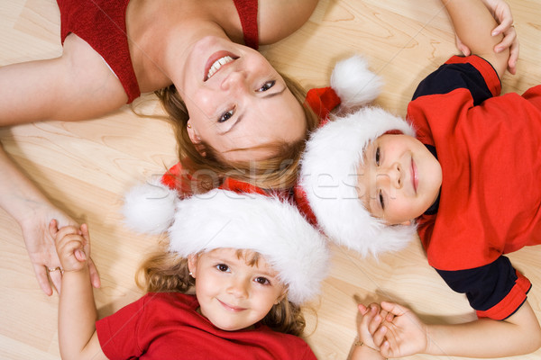 Foto stock: Mujer · ninos · Navidad · tiempo · piso · fiesta