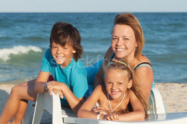 Stok fotoğraf: Mutlu · kadın · çocuklar · rahatlatıcı · güverte · sandalye