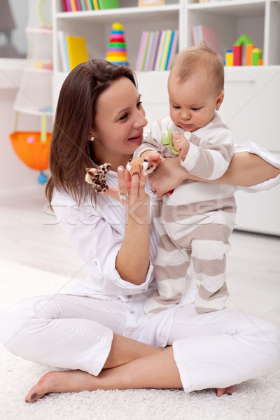 Stock foto: Mutter · Baby · spielen · home · Frau
