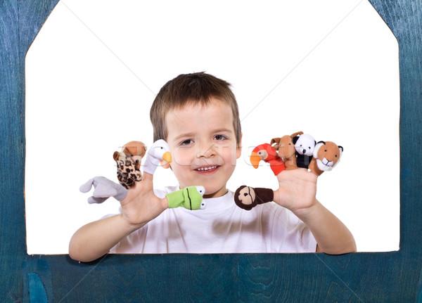 Souriant Kid jouer doigt heureux yeux Photo stock © ilona75