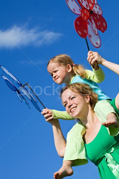 Vár szél kislány nő kint tavasz Stock fotó © ilona75