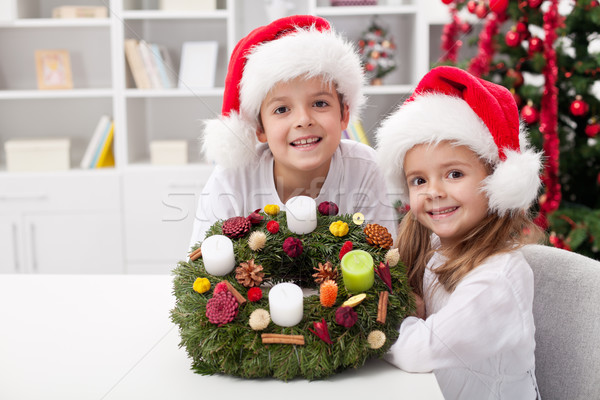 Kids with self decorated advent wreath Stock photo © ilona75