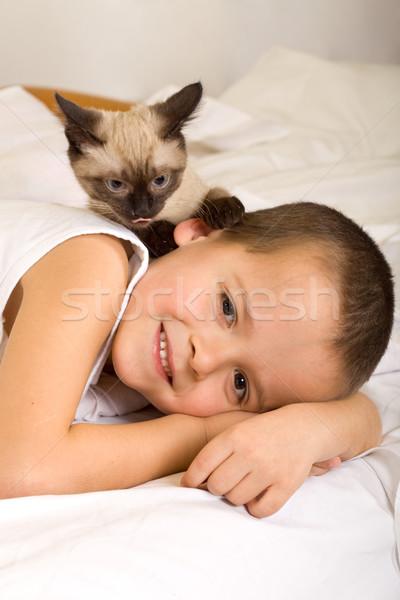 Legjobb haverok szórakozás kicsi fiú kiscica Stock fotó © ilona75