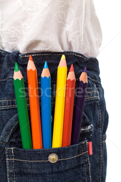 Colored pencils in kids jeans pocket Stock photo © ilona75