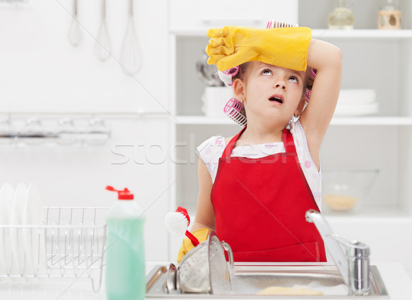 Little housekeeping fairy tired of home chores Stock photo © ilona75