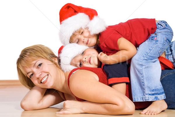 Stok fotoğraf: Noel · kadın · çocuklar · üst · diğer