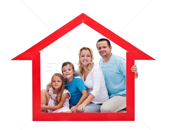 Családi otthon fiatal felnőttek kettő gyerekek ház alakú Stock fotó © ilona75