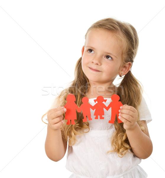 Petite fille pense famille papier personnes Photo stock © ilona75