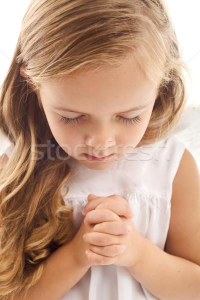 Stockfoto: Meisje · bidden · handen · ogen · haren · portret