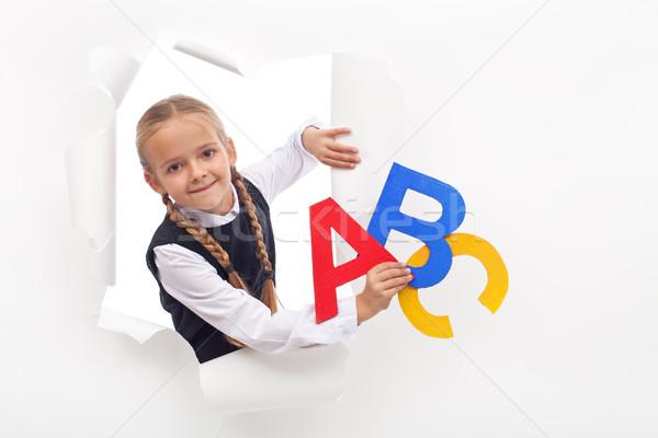Stockfoto: Meisje · alfabet · brieven · exemplaar · ruimte · gat