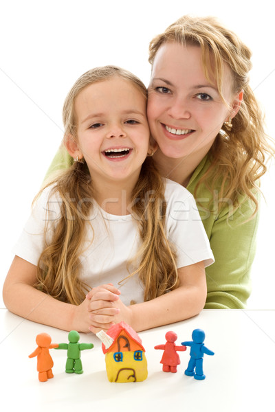 Happy woman and little girl Stock photo © ilona75