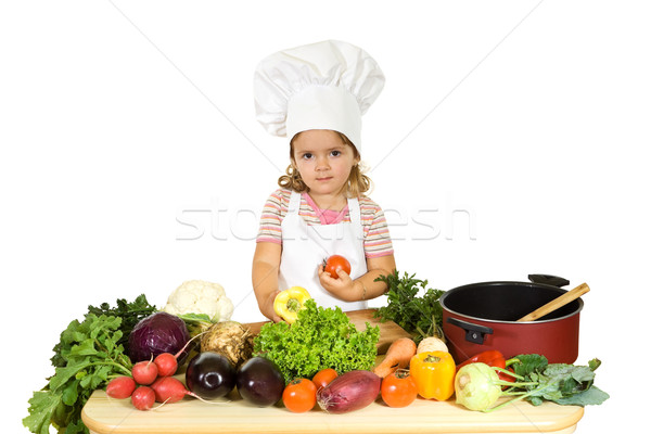 Little chef with vegetables Stock photo © ilona75