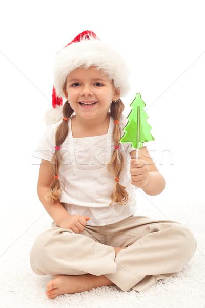 Stok fotoğraf: Küçük · kız · Noel · şapka · ağaç · biçim · lolipop