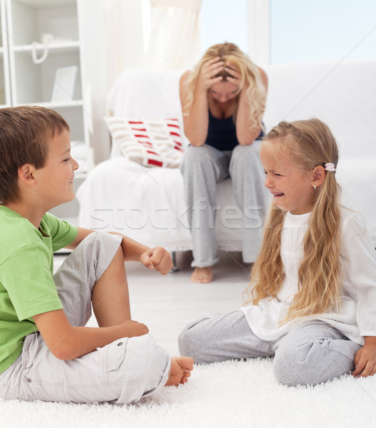 Kids having a quarrel and fight Stock photo © ilona75