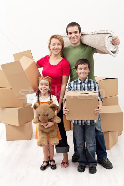 Photo stock: Famille · deux · enfants · déplacement · famille · heureuse
