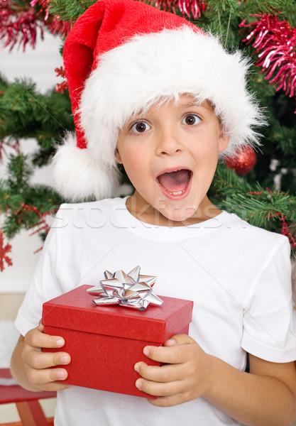 Foto stock: Feliz · sorprendido · nino · Navidad · presente · decorado