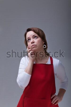 Femme rouge pense gris espace de copie au-dessus Photo stock © ilona75