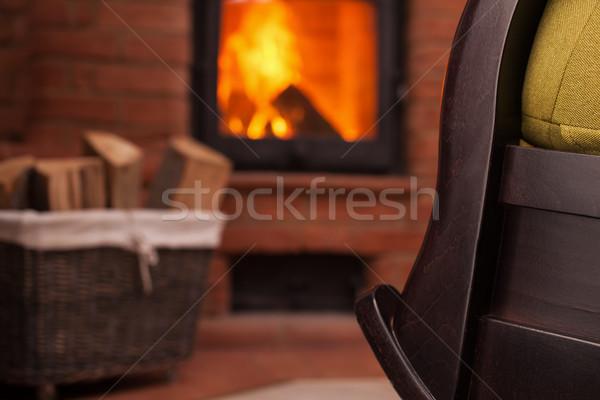 Detail haard schommelstoel gezellig plaats home Stockfoto © ilona75