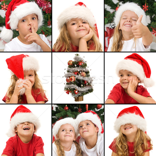 Expressions of kids having fun at christmas time Stock photo © ilona75