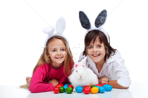 Stok fotoğraf: Mutlu · çocuklar · easter · bunny · renkli · yumurta
