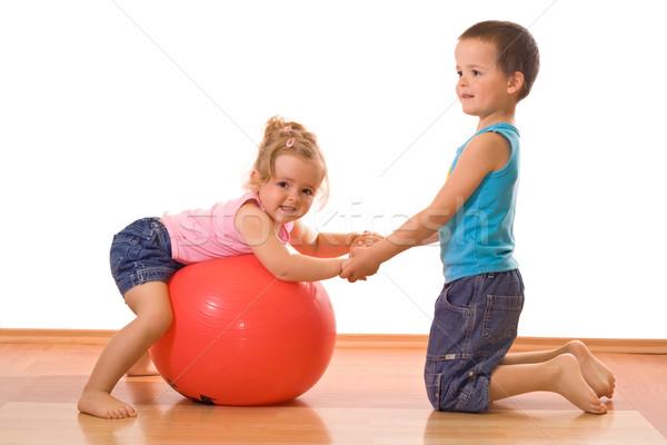 Stock fotó: Kicsi · fiú · tanít · lánytestvér · torna · játszik