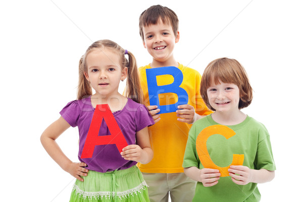 Children with abc letters Stock photo © ilona75