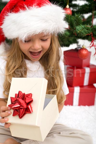 Izgatott kislány nyitás karácsony ajándék fenyőfa Stock fotó © ilona75