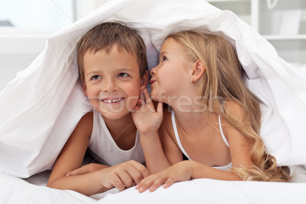 Kids sharing their secrets under the quilt Stock photo © ilona75