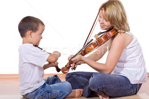 Boy and woman practicing the violin Stock photo © ilona75