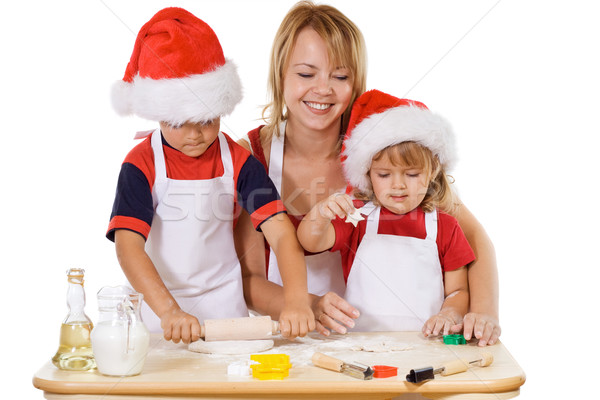 Family making cookies at christmas time Stock photo © ilona75