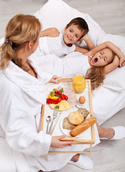 Helthy breakfast in bed for the kids Stock photo © ilona75