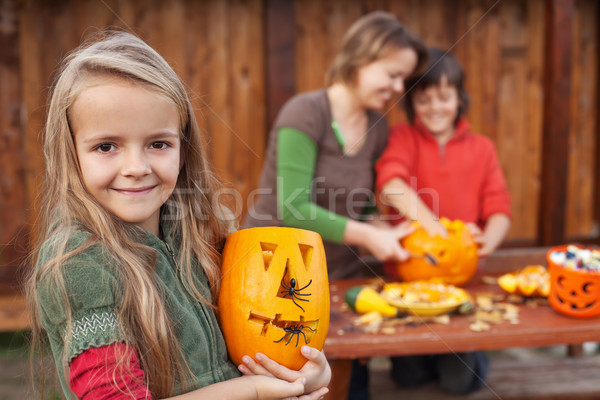 Kids and their mother preparing for Halloween Stock photo © ilona75