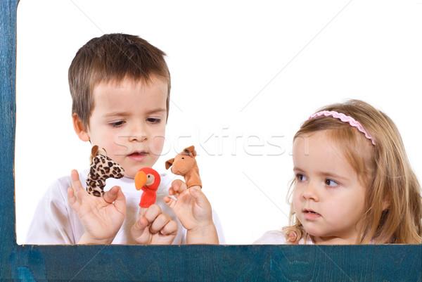 çocuklar oynama parmak mutlu gözler erkek Stok fotoğraf © ilona75