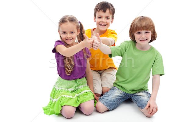 Gyermekkor barátok együttműködés gyerekek mutat remek Stock fotó © ilona75