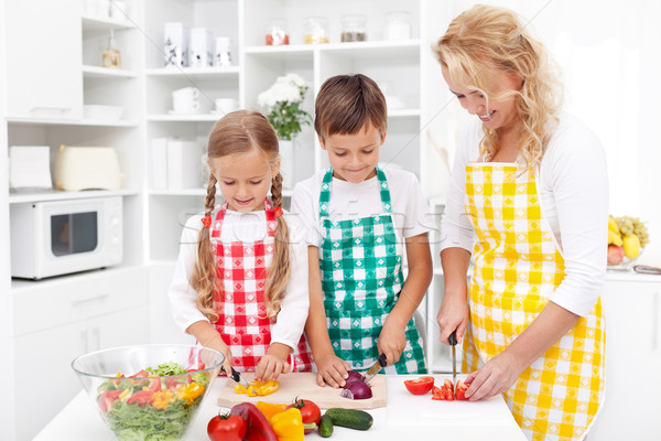 Family preparing fresh salad Stock photo © ilona75