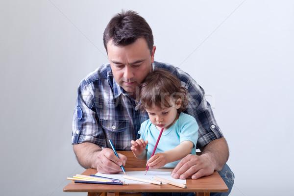 Garçon dessin père crayons Photo stock © ilona75