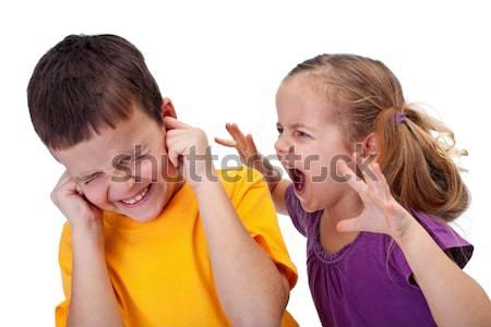 Quarreling kids - boy shouting to girl Stock photo © ilona75