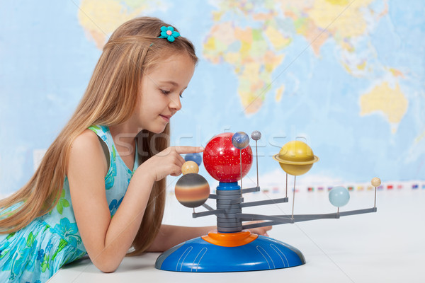 Little girl studies the solar system in geography class Stock photo © ilona75
