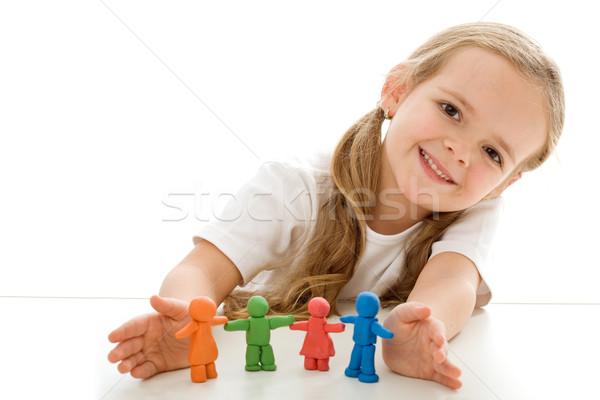 Kislány színes agyag boldog család izolált copy space Stock fotó © ilona75