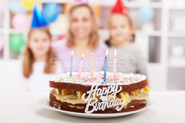 Home made happy birthday cake Stock photo © ilona75