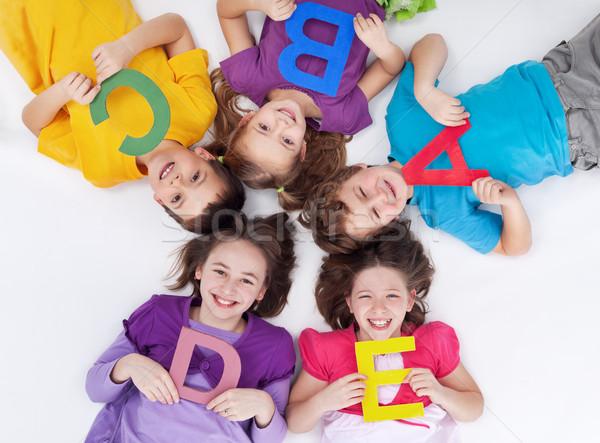 Stockfoto: Gelukkig · school · kinderen · kleurrijk · alfabet · brieven