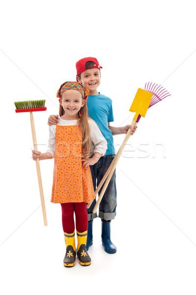 Kinderen tuinieren geïsoleerd gelukkig Stockfoto © ilona75