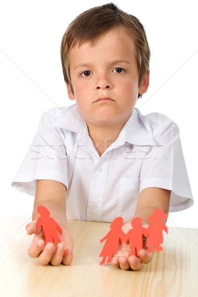 Divorce effect on kids concept with sad boy-focus on child Stock photo © ilona75
