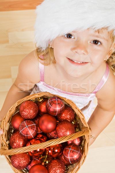 Stok fotoğraf: Küçük · kız · Noel · sepet · tok · süslemeleri
