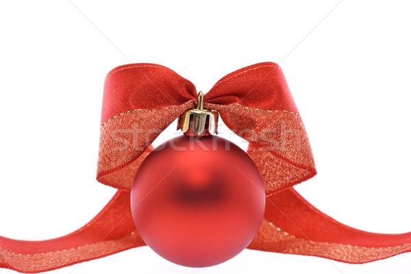 Сток-фото: красный · Рождества · украшения · лента · белый · празднования